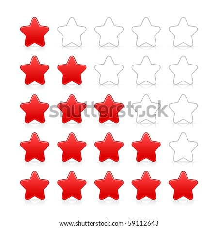 Five stars ratings web 2.0 button. Red and gray shapes with shadow and reflection on white - stock vector