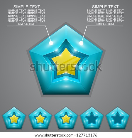 Five stars ratings with - stock vector
