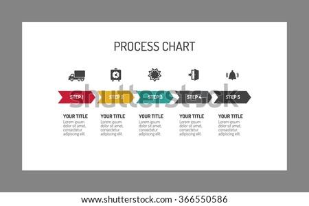 Five-step process arrow chart - stock vector