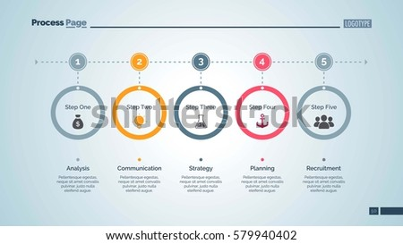 Five Step Process Chart Slide Template Stock Vector 580899889