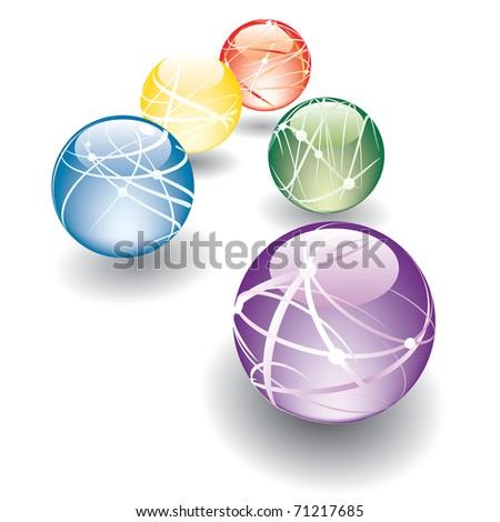 five vector abstract balls in perspective - stock vector