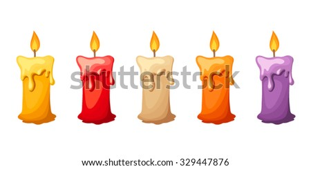 Five vector colorful candles isolated on a white background. - stock vector
