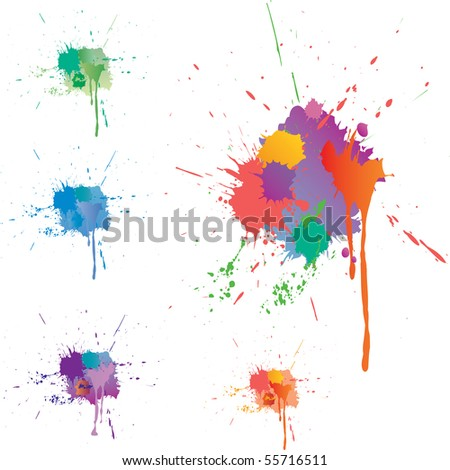 five vector colorful stains - stock vector