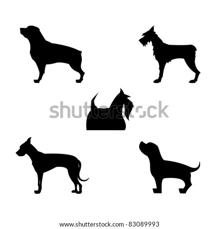 Five Vector Dogs Silhouettes. - stock vector