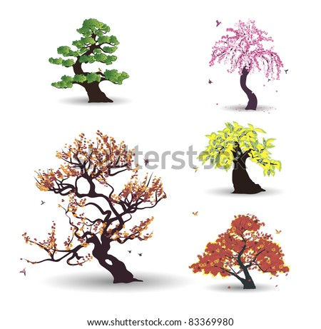 Five vector trees with birds on the white background