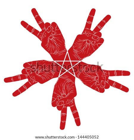 Five victory hands abstract symbol with pentagonal star, vector special emblem with human hands. - stock vector