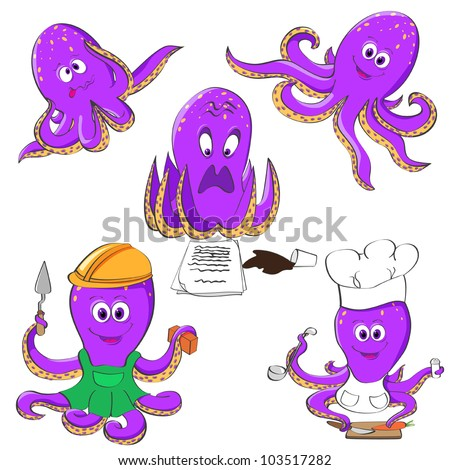 Five violet octopuses in different mood and situations - stock vector