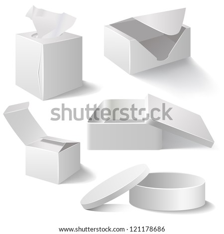 Five white boxes isolated on white - stock vector