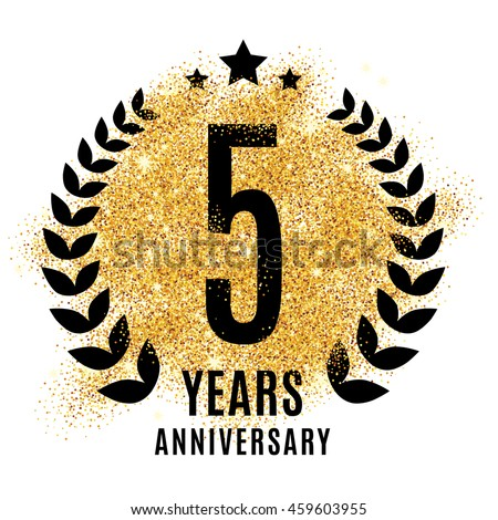 Five Years Golden Anniversary Sign Gold Stock Vector 459603955