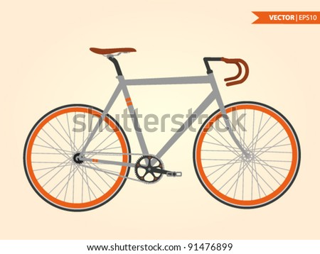 fixed-gear bicycle - stock vector