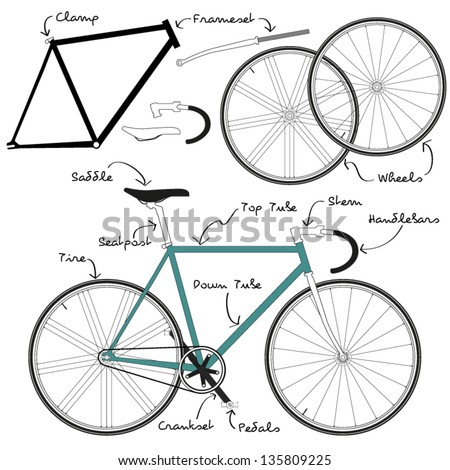 Fixie Bike Detailful Parts Naming Stock Vector 135809225