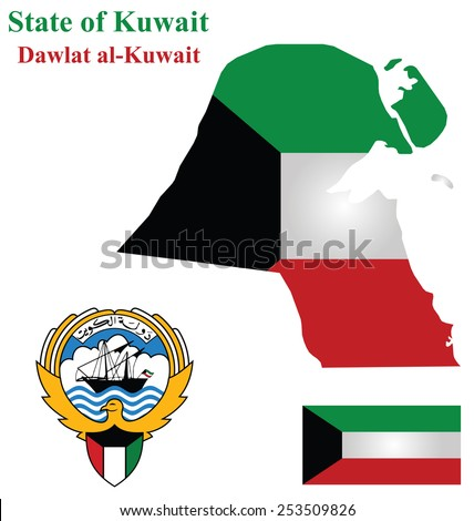 Flag and coat of arms of the Arabic country State of Kuwait overlaid on detailed outline map isolated on white background