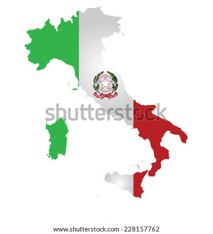 Flag and coat of arms of the Italian Republic overlaid on detailed outline map isolated on white background  - stock vector