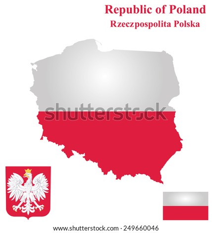 Flag and coat of arms of the Republic of Poland overlaid on detailed outline map isolated on white background  - stock vector