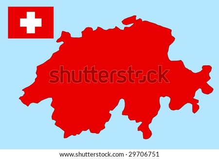 flag and map of Swiss