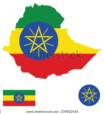 Flag and national coat of arms of the Federal Democratic Republic of Ethiopia overlaid on detailed outline map isolated on white background