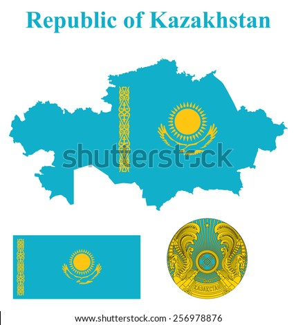 Flag and national coat of arms of the Republic of Kazakhstan overlaid on detailed outline map isolated on white background  - stock vector