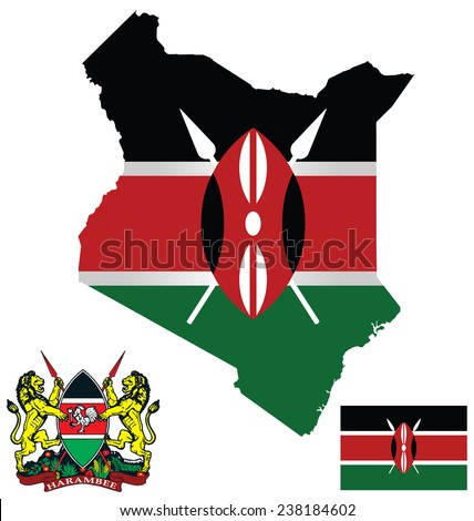 Flag and national coat of arms of the Republic of Kenya overlaid on detailed outline map isolated on white background  - stock vector