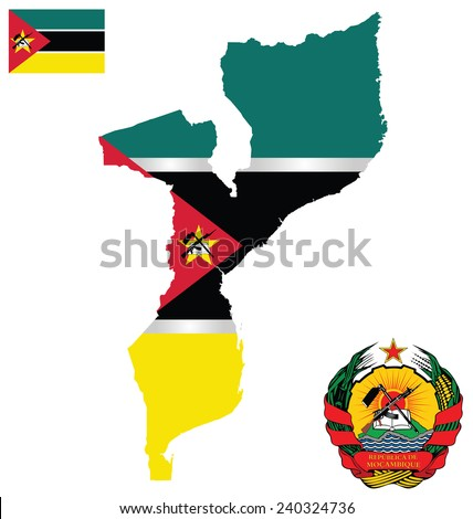Flag and national coat of arms of the Republic of Mozambique overlaid on detailed outline map isolated on white background  - stock vector