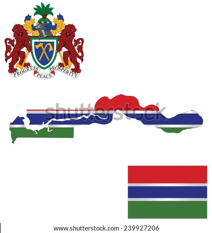 Flag and national coat of arms of the Republic of the Gambia overlaid on detailed outline map isolated on white background  - stock vector