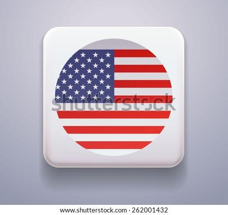 Flag as a button. Image. Vector. Icon. Flag of USA - stock vector