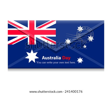 Flag as an open envelope with a letter. Flag of the country. Australia, Canberra,Vector. Icon. - stock vector