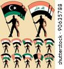 Flag bearer in 12 versions, differing by the flag. Flags of: Libya, Iraq, Syria, United Arab Emirates, Afghanistan, Palestine, Yemen, Kuwait, Jordan, Sudan, Western Sahara, Kenya. - stock photo