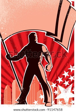 Flag Bearer Poster: Retro poster with flag bearer. No transparency and gradients used. - stock vector