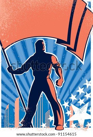 Flag Bearer Poster 2: Retro poster with flag bearer. No transparency and gradients used. - stock vector