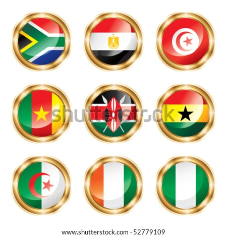 Flag buttons Africa. Vector, each in separated layer - stock vector