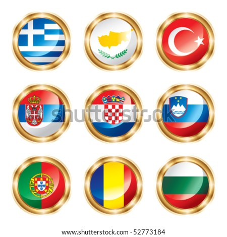 Flag buttons European four. Vector, each in separated layer - stock vector