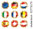 Flag buttons European one. Vector, each in separated layer - stock photo