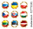 Flag buttons European three. Vector, each in separated layer - stock vector