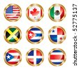 Flag buttons North & Central America. Vector, each in separated layer. - stock photo