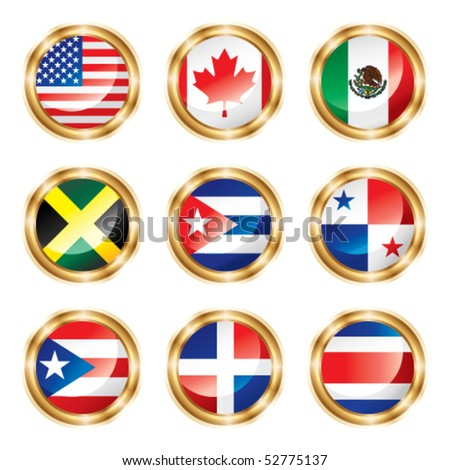 Flag buttons North & Central America. Vector, each in separated layer. - stock vector