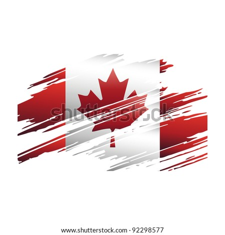 Flag Canada in the form traces brush vector - stock vector