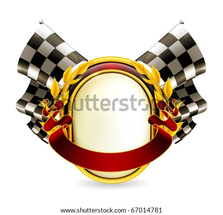 Flag checkered emblem, eps10 - stock vector