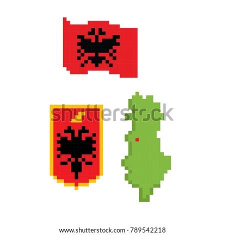 Flag Coat Arms Map Albania Pixel Vector de stock789542218: Shutterstock
