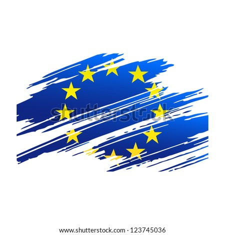 Flag European Union in the form traces brush isolated vector - stock vector