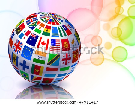 Flag Globe on Abstract Color Background Original Vector Illustration