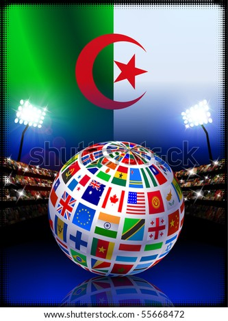 Flag Globe on Algeria Stadium Soccer Match Original Illustration