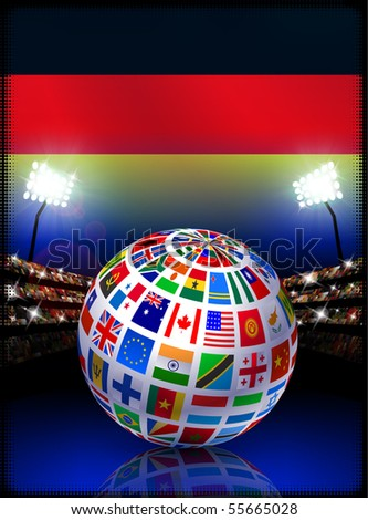 Flag Globe on Germany Stadium Soccer Match Original Illustration