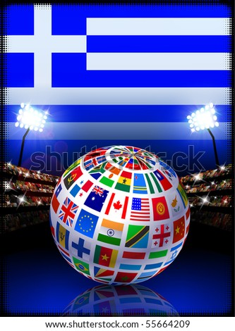 Flag Globe on Greek Stadium Soccer Match Original Illustration