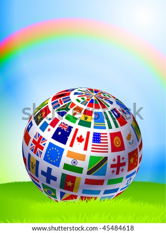 Flag Globe on Nature Background with Rainbow Original Vector Illustration