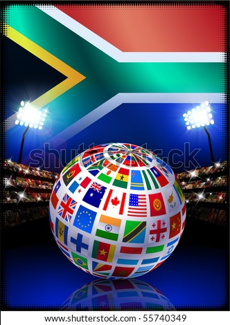 Flag Globe on South Africa Stadium Soccer Match Original Illustration