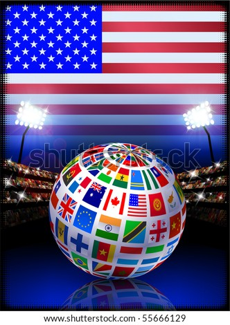 Flag Globe on USA Stadium Soccer Match Original Illustration