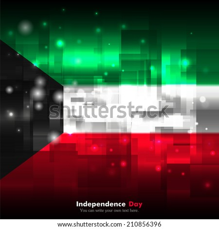 Flag. Glowing background with flag colors. Independence Day. Techno background. Abstract background. Used as an background, card, greeting, printed materials. Flag of Kuwait - stock vector