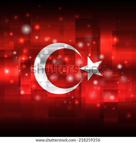 Flag. Glowing background with flag colors. Independence Day. Techno background. Abstract background. Used as an background, card, greeting, printed materials. Flag of Turkey - stock vector