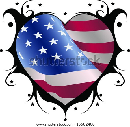 Flag heart - stock vector