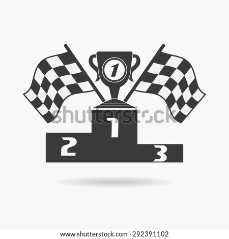 Flag icon. Checkered or racing flags first place prize cup and winners podium. Sport auto, speed and success, competition and winner, race rally, vector illustration.